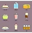 Line art dairy icon set Infographic elements vector image vector image