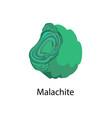 malachite copper carbonate hydroxid mineral vector image