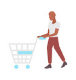 man pushing empty trolley cart african american vector image