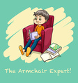Man sitting reading on armchair vector image vector image
