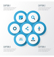 media colorful icons set collection of download vector image vector image