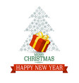 merry christmas and happy new year xmas card with vector image vector image