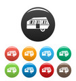 modern camp trailer icons set color vector image
