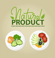 natural product poster with vegetables vector image