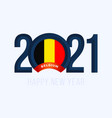 new year 2021 with belgium flag with lettering vector image vector image