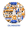 oil industry banner with icons set in circle and vector image vector image