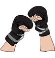pair of male hands in leather black retro boxing vector image vector image