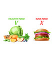 realistic healthy and junk food concept vector image vector image