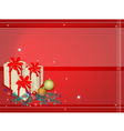 Red Background of Gift Boxes on Fir Twigs vector image vector image