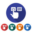 round icon fingerprint scanning line icon vector image vector image