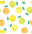 seamless pattern lemon isolated on white vector image