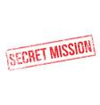 Secret Mission red rubber stamp on white vector image vector image