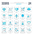 set blue line icons aircraft vector image