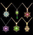 set of jewelry vintage pendants ornament made of vector image vector image
