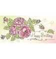 Sheet of old paper decorated of pink roses vector image vector image