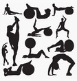 silhouettes of woman fitness 3 vector image vector image