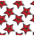 soviet red star with hammer and sickle seamless vector image vector image