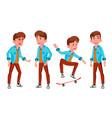 teen boy poses set caucasian positive vector image