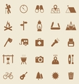 Trekking color icons on brown background vector image vector image