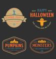 vintage set happy halloween badges vector image vector image