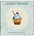 Watercolor confectionery advertisement with vector image