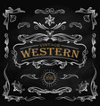 western hand drawn elements frame label vector image vector image