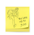yellow sticker with man on white vector image vector image