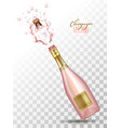 realistic pink champagne explosion vector image
