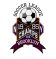 Soccer League New York Champs Brooklyn T-shirt vector image