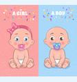 baby boy and baby girl set vector image