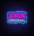 100 percent original neon text design vector image vector image