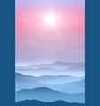 Background with sun and mountains in the fog vector image