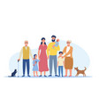 big happy family standing together vector image