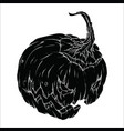 black evil pumpkin on white background vector image vector image