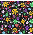 bright and funny seamless floral pattern on black vector image
