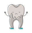 cartoon caries in the root of tooth in watercolor vector image