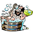 cartoon of an old dirty man who wash him selv in vector image vector image