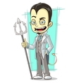 Cartoon white devil with sharp trident vector image vector image
