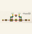 christmas and new year retro geometric deer banner vector image