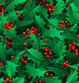Christmas holly berries seamless pattern vector image vector image