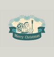 christmas sign with santa claus vector image vector image
