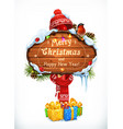 christmas wooden sign merry and happy vector image vector image