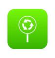 circular motion road sign icon digital green vector image vector image