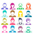 colorful avatar icons vector image vector image