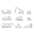Construction machines thin icons vector image vector image