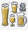 draft beer hand drawn design different vector image