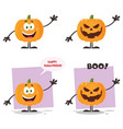 evil halloween pumpkin character collection - 1 vector image vector image