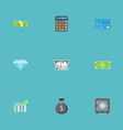 flat icons teller machine cash stack money and vector image vector image