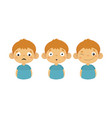 flat set boy character showing different vector image
