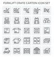 forklift crate carton vector image vector image